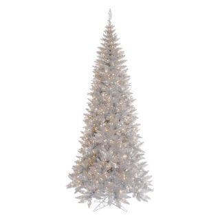 Vickerman Silver Slim Fir Pre lit Christmas Tree   Christmas Trees