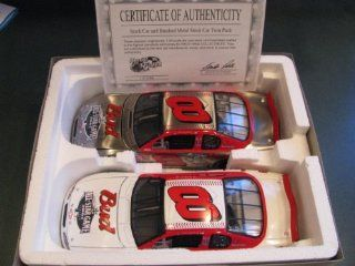 2001 Dale Earnhardt Jr #8 Major League Baseball Budweiser All Star Game Special Paint Scheme (Won Daytona Summer Race in 2001) 1/24 Scale Diecast Two Car Set Regular Paint Scheme & Brushed Metal Hood Opens, Trunk DOES NOT Open Brookfield Collectors Gui
