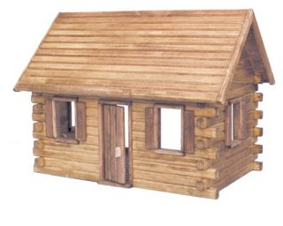 Real Good Toys Crockett Log Cabin Kit   1 Inch Scale   Collector Dollhouse Kits