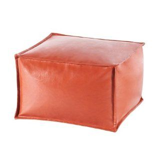 Madison Park Anaei Large Square Pouf Ottoman   Orange   25W x 25D x 16H""