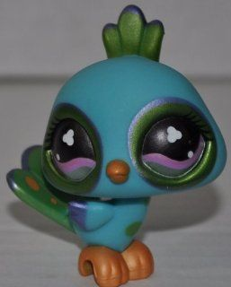 Peacock #869 (Aqua, Pink Eyes, Pearlized Paint) Littlest Pet Shop (Retired) Collector Toy   LPS Collectible Replacement Single Figure   Loose (OOP Out of Package & Print)