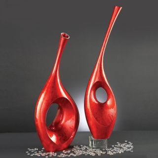Bright Red Contemporary Vase Sculpture   Floor Vases