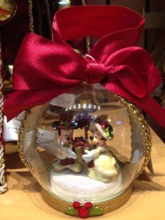 Disney Park Mickey Minnie Mouse Victorian Christmas Ornament Clear NEW  Decorative Hanging Ornaments