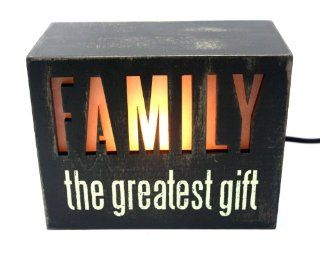 Illuminated Box Sign   Lighted Inspirational Table Decor (FAMILY the Greatest Gift)