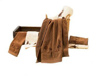 HiEnd Accents Embroidered Team Roping Towel Set, Brown   Western Towel Set