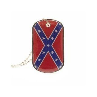 Rebel Confederate Dukes of Hazzard Flag Dog Tag Metal Necklace with 14 Inch ChainNew   Pet Identification Tags