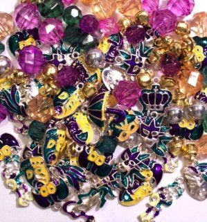 Roxy Jewels   BIG LOT 24 Assorted MARDI GRAS   Fat Tuesday   New Orleans Craft Charms, Plus Bonus Beads
