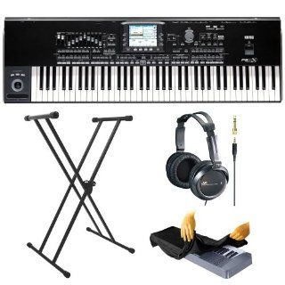 Korg Pa3X 76 Key Professional Workstation   Black (PA3X76) + Two Sets of Headphones + Keyboard Bench + Keyboard Stand + Dust Cover Musical Instruments