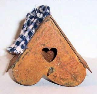 """ABC Products""   Mini ~ Primitive Rusty Tin  Heart Shaped   Bird House (With Fabric Accent).   Home And Garden Products"