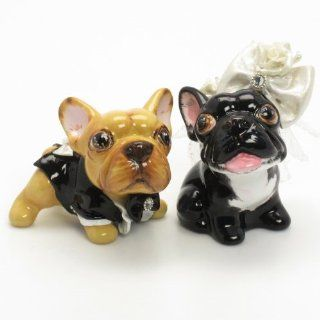 French Bulldog Dog Wedding Cake Toppers C00002 Ceramic Hand Painted Wedding Decor Figurine Statue Art and Crafts  Wedding Ceremony Accessories