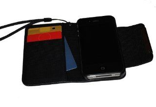 Deluxe Folio Wallet Leather Case for Iphone 4 Iphone 4s Multifunctional   Pockets to Keep Your Cards Driving License Bills & Belongings Safe   Color Black / Black: Cell Phones & Accessories