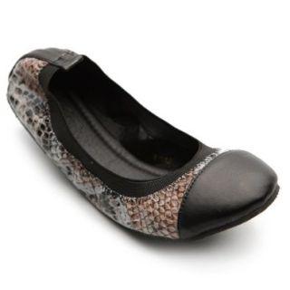 Ollio Women's Ballet Driving Shoe Comfort Snake Pattern Multi Color Flat: Shoes