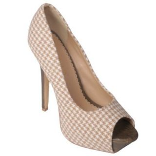 Liliana by Journee Co Womens Houndstooth Peep Toe Pumps: Pumps Shoes: Shoes