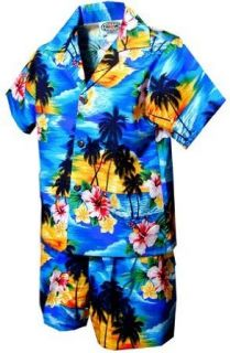 Sunset Palm Boys Hawaiian Shirts   Boys Set Hawaiian Shirts   Aloha Shirt Clothing