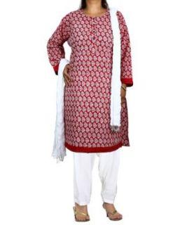 Red Kameez White Salwar Dupatta Indian Clothing For Women Clothing