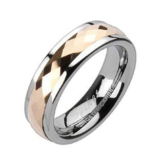 Size 5  Spikes Womens Tungsten Carbide Rose Gold IP Spinner Ring: Jewelry