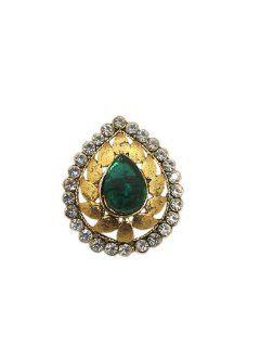 Green Stone Ring Adjustable Gold Tone Kundan Jodha Akbar Jewelry: Tarini Jewels: Jewelry