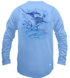 Salt Life Deep Sea Fade SLX Long Sleeve T Shirt Light blue Md: Clothing