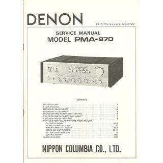 Denon Model PMA 970 Service Manual Denon Books