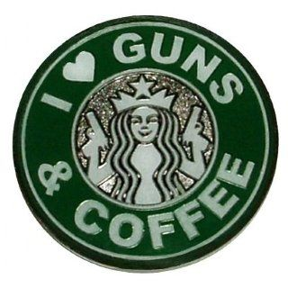 I Love Guns & Coffee Challenge Coin  Outdoor Backpack Accessories  Sports & Outdoors