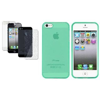CommonByte 3D Diamond LCD Film+TPU Transparent Neon Green Soft Case Protective For iPhone 5: Cell Phones & Accessories