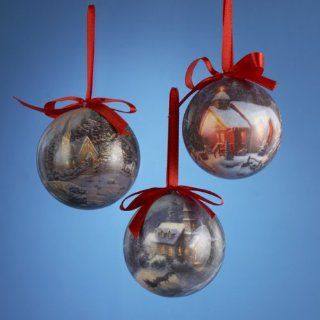 "2.75"" Thomas Kinkade Decoupage Church Scene with Bridge Christmas Ball Ornament"
