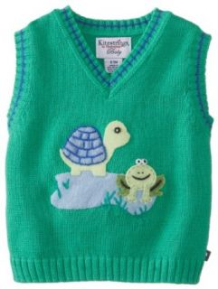 Kitestrings Baby Boys Newborn Baby Boy Cotton Turtle and Frog Sweater Vest Clothing