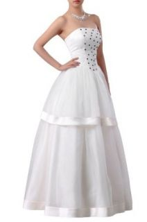 Adorona Women's Natrual Bateau Organza Strapless Wedding Dress at  Women�s Clothing store: