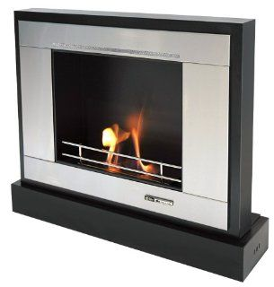 VioFlame Portable Rectangular Fireplace with Stainless Steel Surround   Ventless Fireplaces