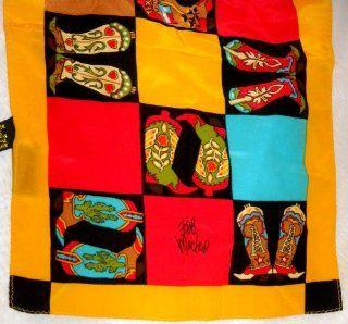 VINTAGE SILK SCARF, BOB MACKIE   WEARABLE ART COLORFUL COWBOY BOOT PRINT SILK SCARF  $29.99