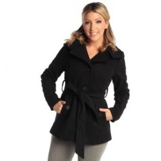 Womens Belted Blazer Alpine Swiss Wool Blend Hot Convertible Funnel Neck Collar, Black Small at  Women�s Clothing store: Wool Outerwear Coats