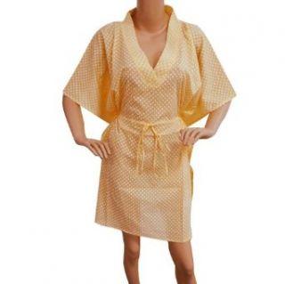 Summer Peach Casual Dress Kaftan Polka Dot Printed Cotton Short Robes Size 4xl Nightgowns