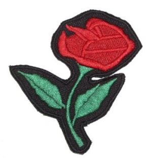 Leather Supreme Red Rose Lady Biker Embroidered Biker Patch  Red Small: Clothing