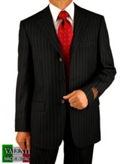 Italian Men Suits By Valenti Made in Italy Super 150's Worsted Wool Complete Suit with Three Button Jacket and Pants Black Chalk Stripe Pinstripe (54L) at  Men�s Clothing store