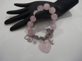 Natural Semi Preciouse Large Pink Quartz Heart and Circle Beaded Charm Bracelet  Other Products