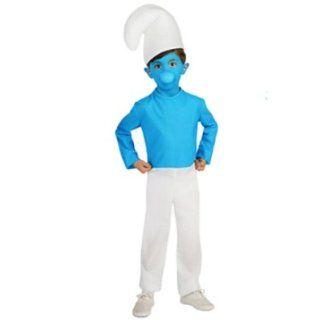 The Smurfs Kids Smurf Costume Jumpsuit Hat Blue Face Makeup: Clothing