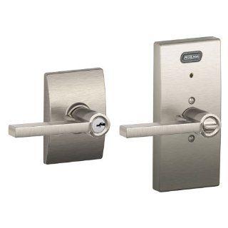 Schlage FE51 LAT 619 CEN Built in Alarm, Century Collection Latitude Keyed Entry Lever Door Lock, Satin Nickel