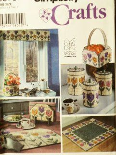 OOP Simplicity Plastic Canvas Patterns. Iris & Peony Design: Tissue Box Cover; Waste Paper Basket; Small Rug; Laundry Basket; Bathtub Cornice. Also, Similar Tulip Design Items.