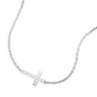 "33734 7 7"" + 1"" extension rhodium plated sterling silver bracelet with clear CZ sideways cross. The CZ cross is approximately 11mm x 15mm. This bracelet has a spring ring closure. .925 Sterling Silver adjustable precious metal girl woman lady arm"