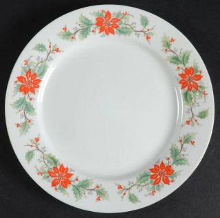 Trisa 1693 (China) Salad Plate, Fine China Dinnerware   Poinsettia & Holly