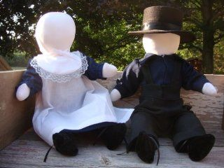 """Traditional Handmade Amish Girl and Boy Doll Set, Approximately 15"""" Each. Handmade By the Ohio Amish on the Old fashioned Treadle Sewing Machine. Arms and Legs Swivel for Adjustment. Clothes Are Replication of Authentic Amish Clothing and Are Made By"""