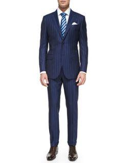 Ermenegildo Zegna Rope Stripe Wool Suit, Woven Poplin Dress Shirt, Multi Track Striped Silk Tie & Shiny Reversible Belt