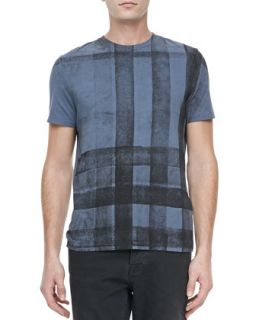 Burberry Brit Check Print Short Sleeve Tee, Blue