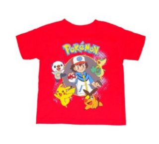 Pokemon Master 4 Pokemon Boys T shirt (S (4), Red) Clothing