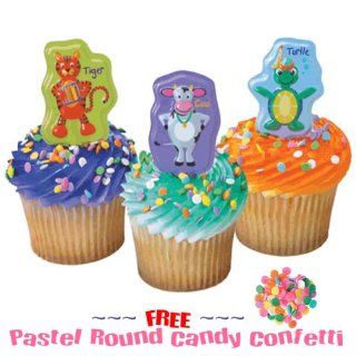 Baby Einstein Cupcakes   9 Re Usable Cake Pics & FREE Pastel Round Candy Confetti Sprinkles DISCONTINUED : Grocery & Gourmet Food