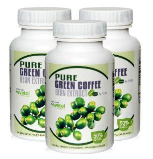 """Pure Green Coffee Bean Extract   Three month's supply   800 with GCA & Svetol by """"Nature's Healthy Body""""   180 Count   Contains exact quantities and ingredients used in clinical research to induce weight loss. Health & Personal C"""
