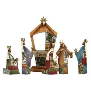 Wood Look Patterned Nativity Set   6 Piece