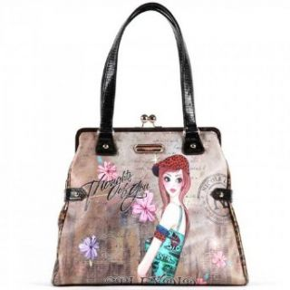 Nicole Lee Tina Print Satchel Bag Gitana Vintage Print Fun Girls Night Out Handbag Hollywood Celebrity Classic Vintage Illustrative Print Animal Print Tote Satchel Shoulder Handbag Purse with Kiss Lock in Coffee Leopard: Shoes