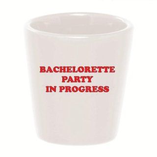Mashed Mugs   Bachelorette Party In Progress (Red Print)   Ceramic Shot Glass Kitchen & Dining