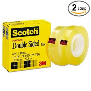 "Scotch 665 Double Sided Office Tape, 1/2"" x 900"", 1"" Core, Clear, 2/Pack Industrial & Scientific"
